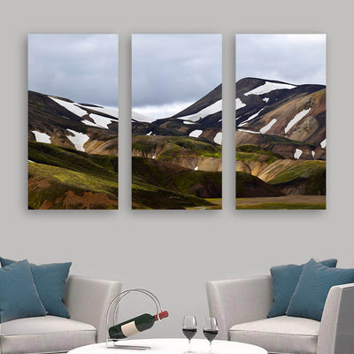 Hilly Brown Mountains Grey Sky Wall Art Multi Panel Canvas Wall Art