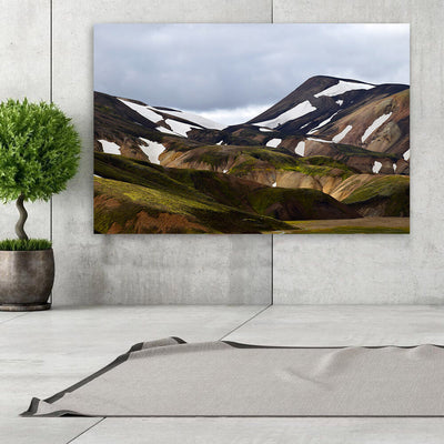 Hilly Brown Mountains Grey Sky Wall Art Canvas Art