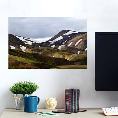 Hilly Brown Mountains Grey Sky Wall Art Wall Decal Wall Art