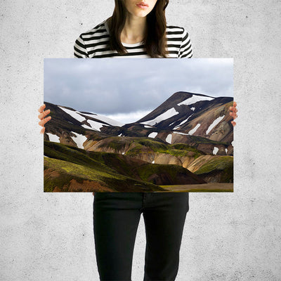 Hilly Brown Mountains Grey Sky Wall Art High Quality Print Wall Art