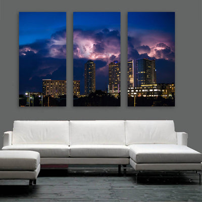 Stormy Austin Skyline Wall Art Multi Panel Canvas Wall Art