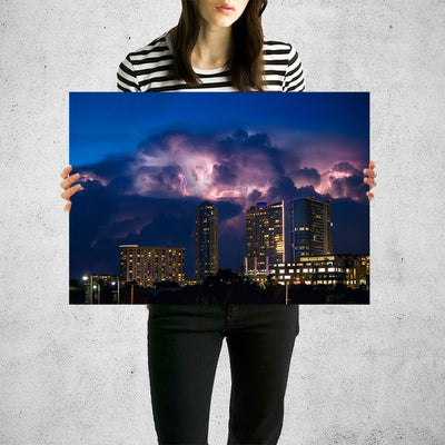 Stormy Austin Skyline Wall Art High Quality Print Wall Art