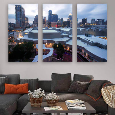Austin Downtown Skyline Wall Art Multi Panel Canvas Wall Art