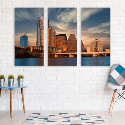 Sunny Austin Skyline Wall Art Multi Panel Canvas Wall Art