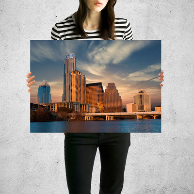 Atlanta Skyline Sunset  Wall Art Print High Quality Print