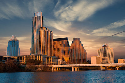 Sunny Austin Skyline Wall Art High Quality Print Wall Art