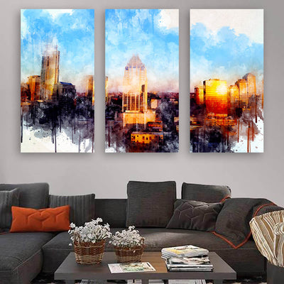 Austin Watercolor Skyline Canvas Wall Art Multi Panel Canvas Wall Art