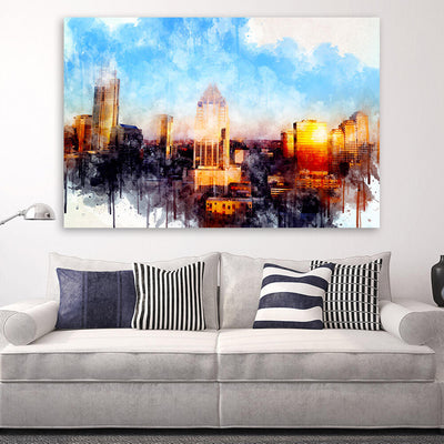 Austin Watercolor Skyline Canvas Wall Art Canvas Art