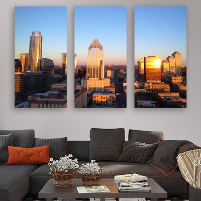 Austin Aerial Skyline Wall Art Multi Panel Canvas Wall Art