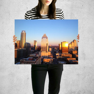Austin Aerial Skyline Wall Art High Quality Print Wall Art