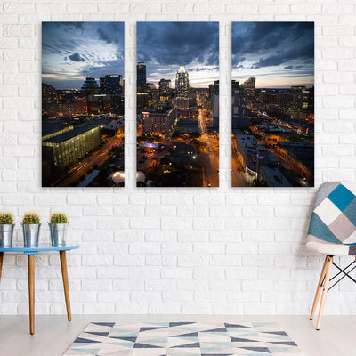 Dusk Austin Skyline Wall Art Multi Panel Canvas Wall Art