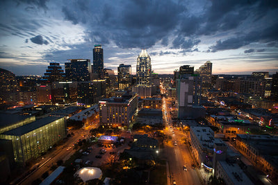 Dusk Austin Skyline Wall Art High Quality Print Wall Art