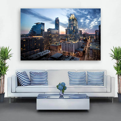 Amazing Dusk Austin Skyline Wall Art Canvas Art
