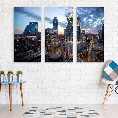 Amazing Dusk Austin Skyline Wall Art Multi Panel Canvas Wall Art