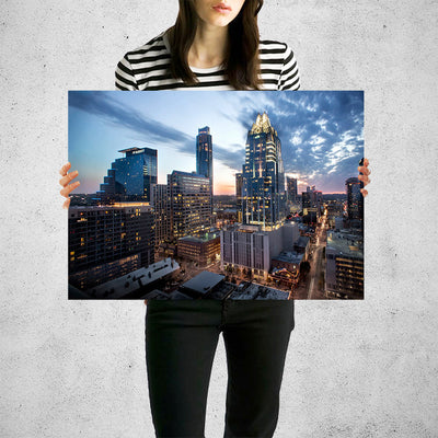 Amazing Dusk Austin Skyline Wall Art High Quality Print Wall Art