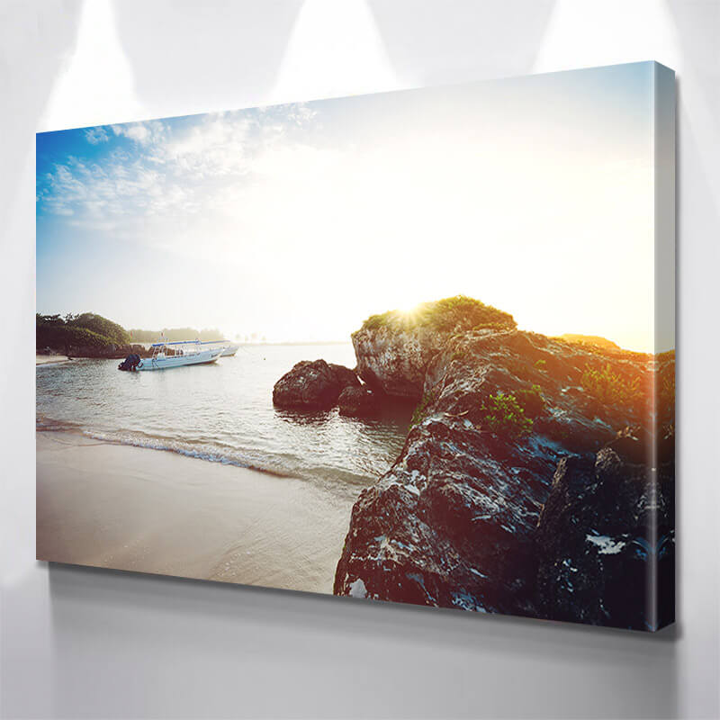 Beach Sun Shine Boats Wall Art Canvas Art