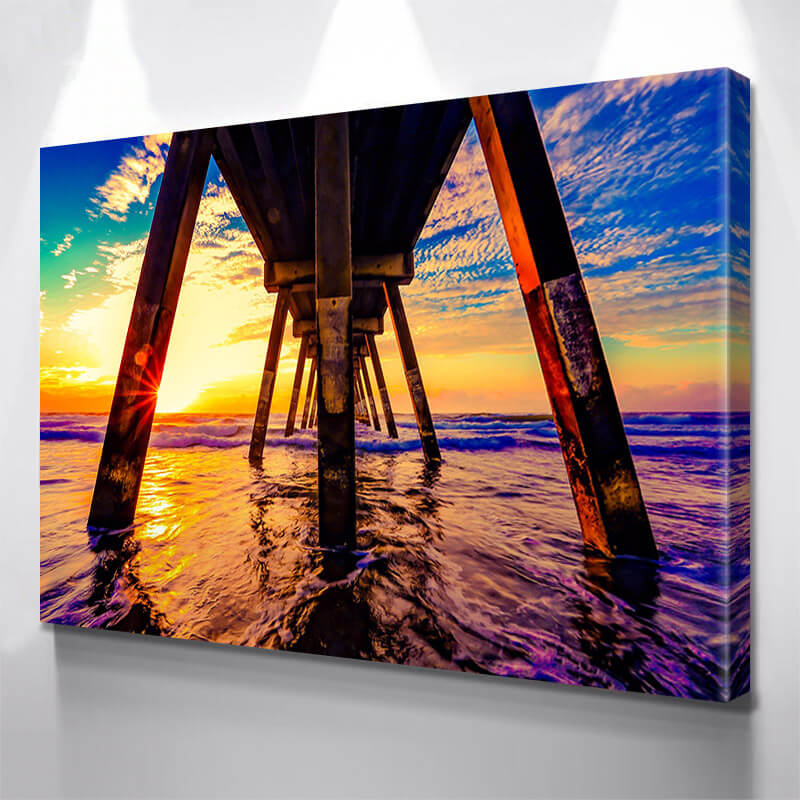 Under The Pier Sunset  Wall Art Canvas Art