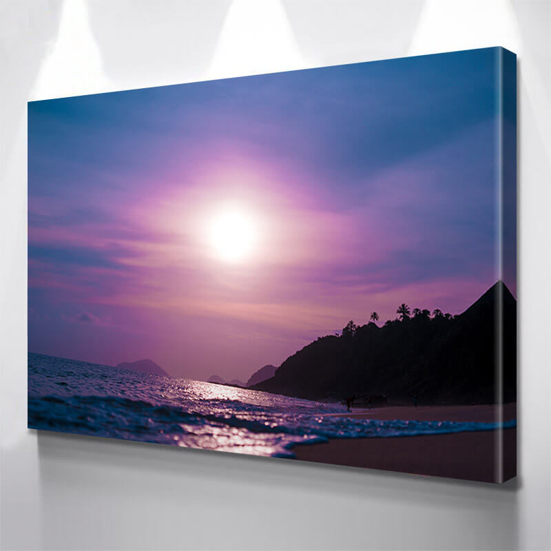 Purple Beach Sunset Wall Art Canvas Art