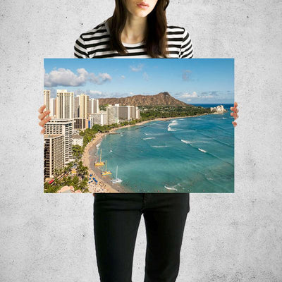 Hawian Beach Aerial Wall Art Print High Quality Print