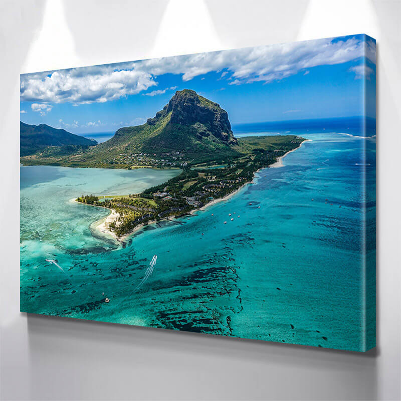 Tropical Pardise Beach Aerial Wall Art Canvas Art