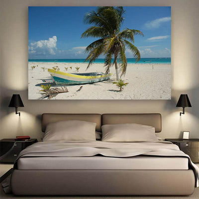 San Juan Beach Boat  Canvas Wall Art Multi Panel Canvas Wall Art