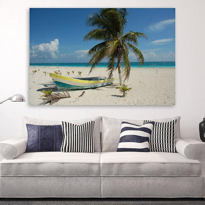 San Juan Beach Boat  Canvas Wall Art Canvas Art