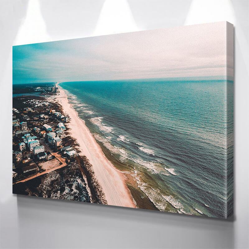 Aerial Beach Town Wall Art Canvas Art