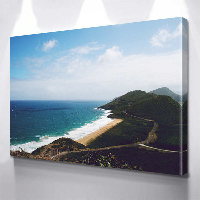 Aerial Hills Beach  Wall Art Canvas Art