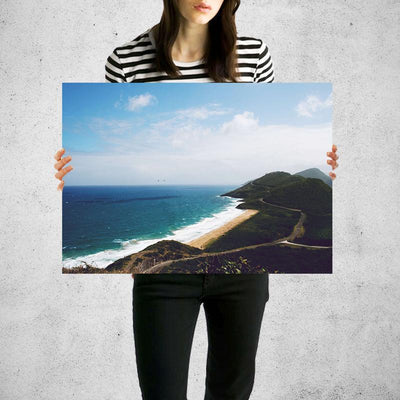 Aerial Hills Beach  Wall Art Print High Quality Print