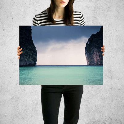 In Between The Rocks Ocean Wall Art Print High Quality Print