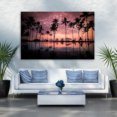 Palm Tree Beach Poolside Canvas Wall Art Multi Panel Canvas Wall Art