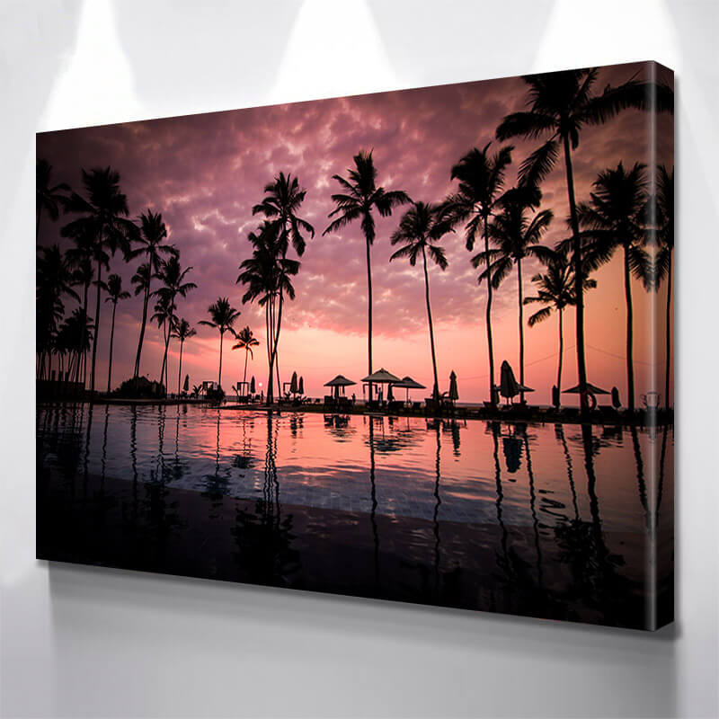 Palm Tree Beach Poolside Wall Art Canvas Art