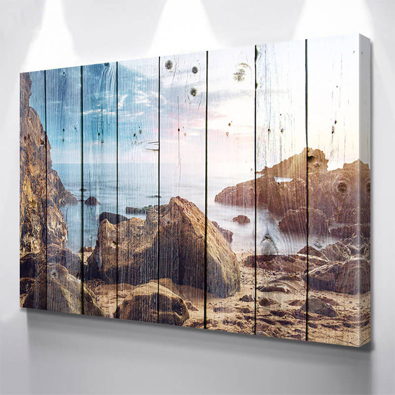 Beach Rocks Wood Wall Art Canvas Art