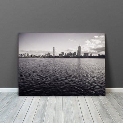 Black & White Boston Ocean View Wall Art Canvas Art