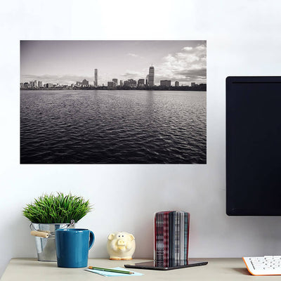 Black & White Boston Ocean View Wall Art Wall Decal Wall Art