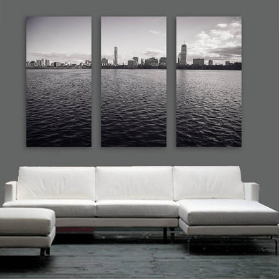 Black & White Boston Ocean View Wall Art Multi Panel Canvas Wall Art