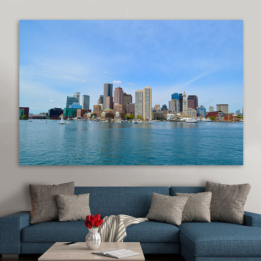 Panoramic boston skyline wall art