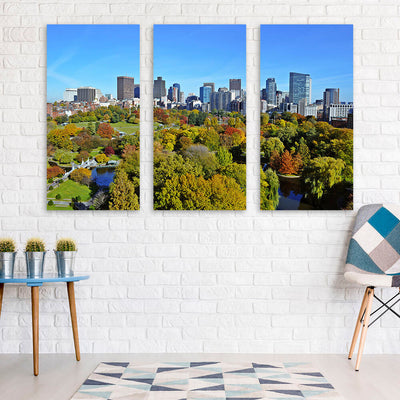 Beatiful Day Boston Park Skyline Wall Art Multi Panel Canvas Wall Art