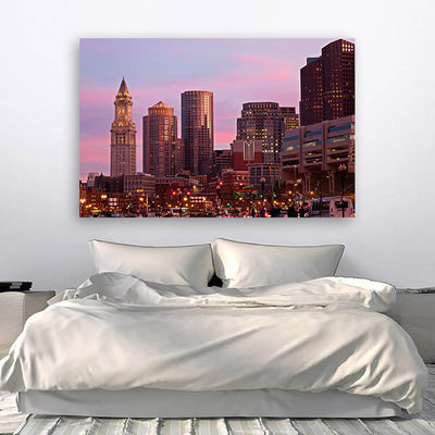 Amazing Dusk Downtown Boston Wall Art Canvas Art