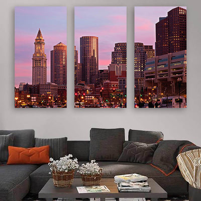 Amazing Dusk Downtown Boston Wall Art Multi Panel Canvas Wall Art