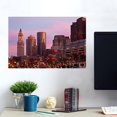 Amazing Dusk Downtown Boston Wall Art Wall Decal Wall Art