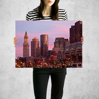 Amazing Dusk Downtown Boston Wall Art High Quality Print Wall Art