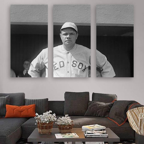 Babe Ruth Boston Red Sox Wall Art Multi Panel Canvas Wall Art