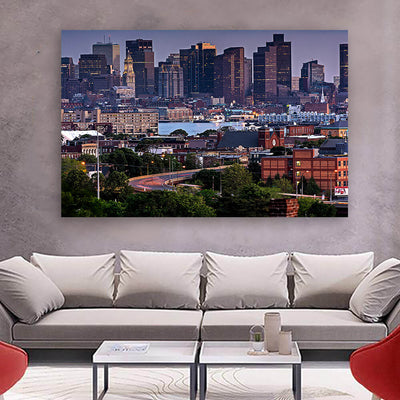 Downtown Boston Buildings Canvas Wall Art Multi Panel Canvas Wall Art