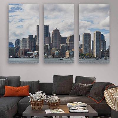 Cloudy Boston Skyline Wall Art Multi Panel Canvas Wall Art