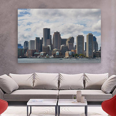 Cloudy Boston Skyline Wall Art Canvas Art