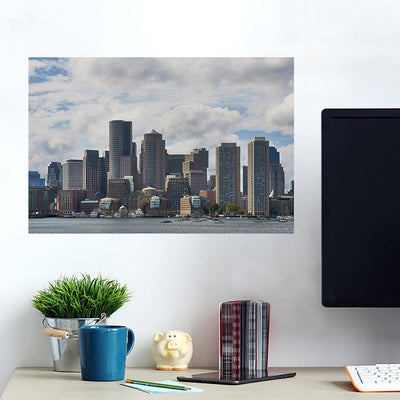 Cloudy Boston Skyline Wall Art Wall Decal Wall Art