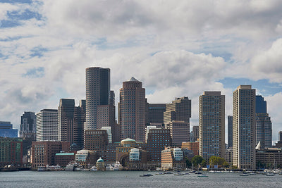 Cloudy Boston Skyline Wall Art High Quality Print Wall Art