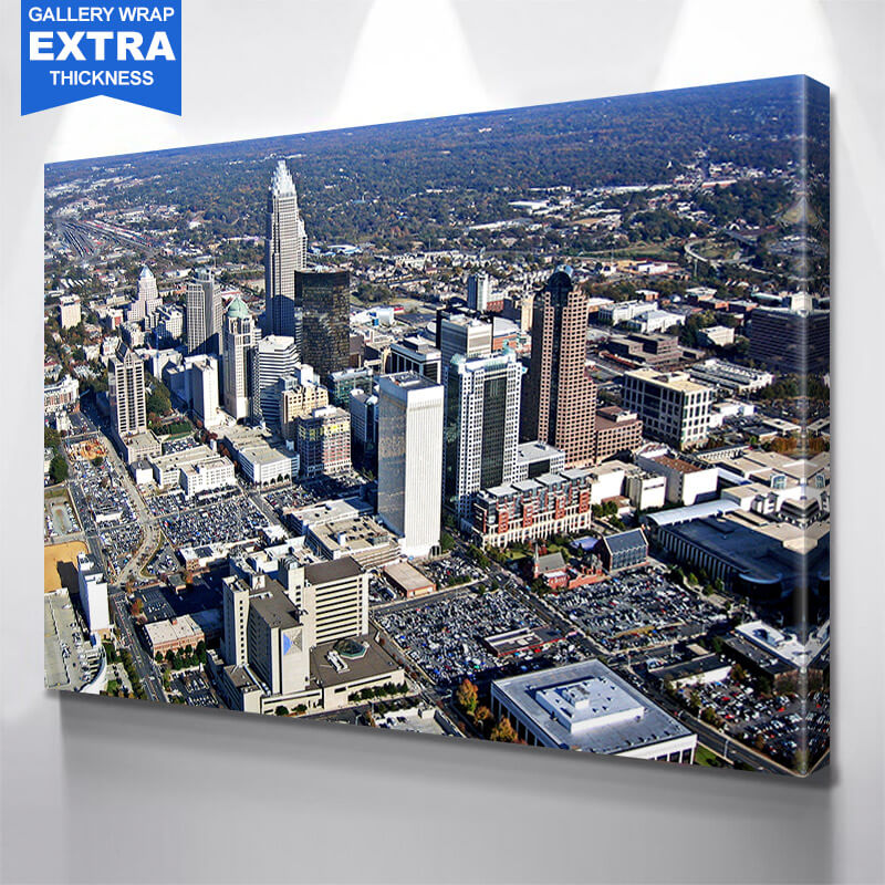 Aerial Downtown Charlotte Wall Art Canvas Art