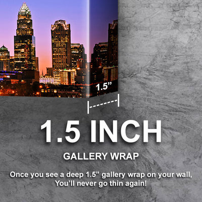 Downtown Dusk Charlotte  Wall Art Canvas Cornors Wall Art